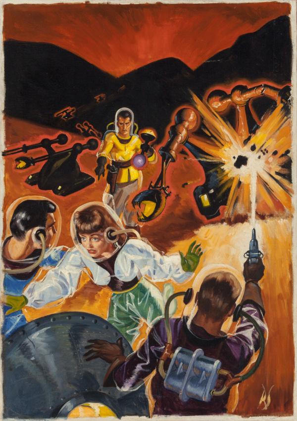 Battling Destructive Robots, Future Fantasy and Science Fiction December 1942