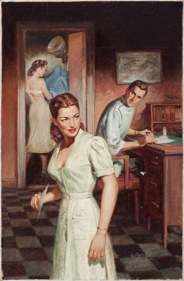 36546485-SAM_CHERRY_(American,_1903-1975)._Young_Nurse,_paperback_digest_cover,_1954