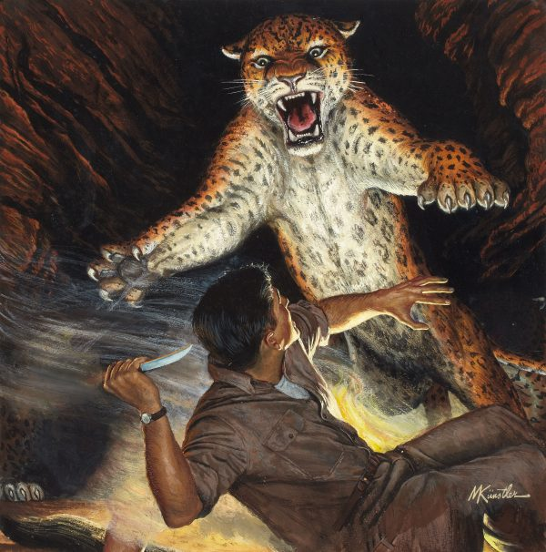 38485299-Attacking_Jaguar_in_Cave,_Men's_Pictorial_cover,_August_1956