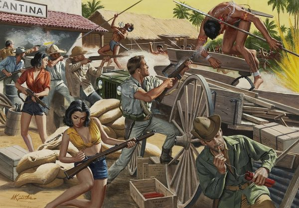 21095823-MORT KUNSTLER (American b. 1931) Holding Them Off at the Cantina, For Men Only cover, circa 1965