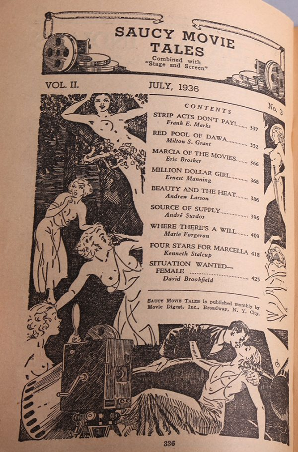 Saucy Movie Tales - July, 1936 Contents