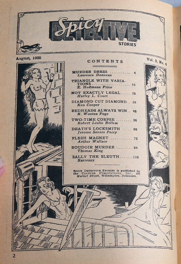 Spicy Detective Stories August 1935 Contents