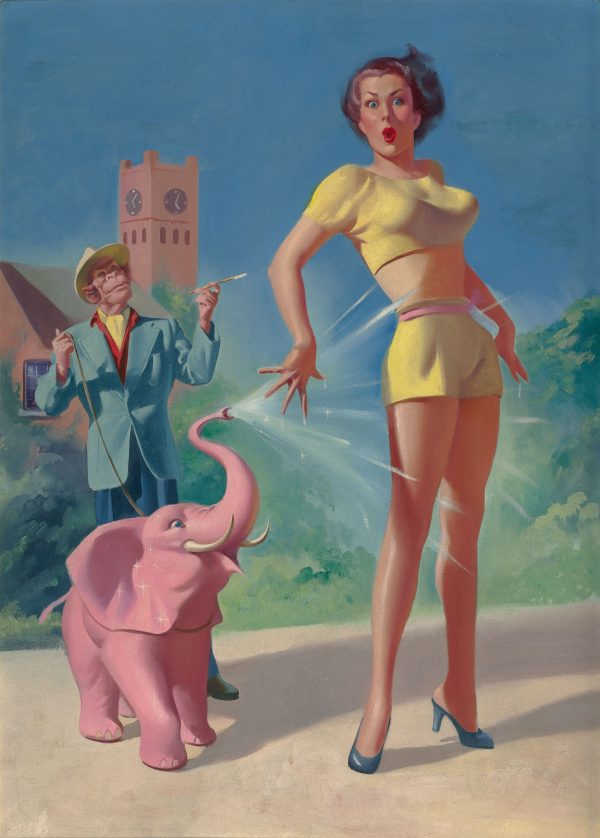 The Pink Elephant, Imaginative Tales digest cover, July 1955
