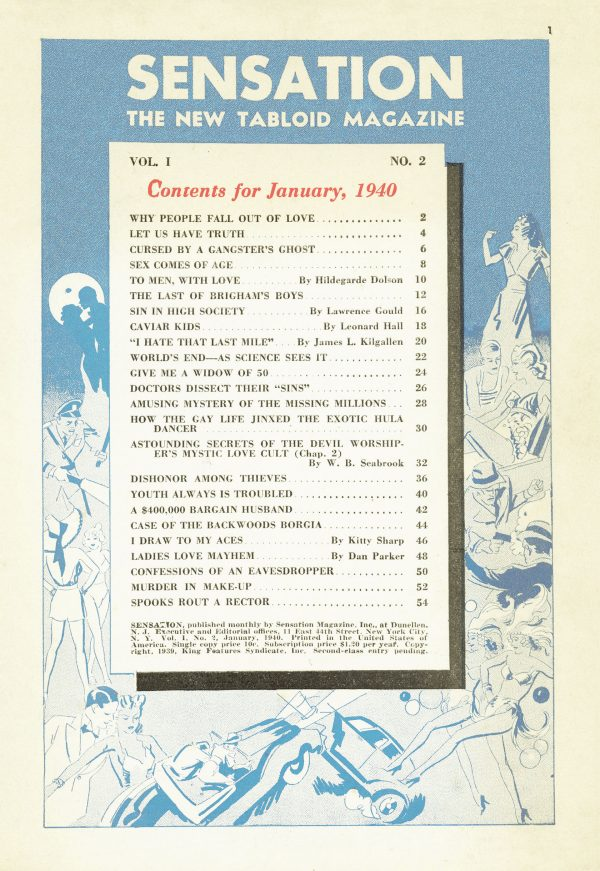 Sensation, January 1940 Contents