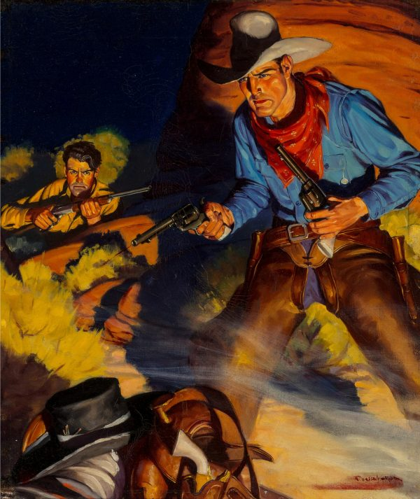 Gold Plated Six Guns, Wild West Weekly magazine cover, October 24, 1936