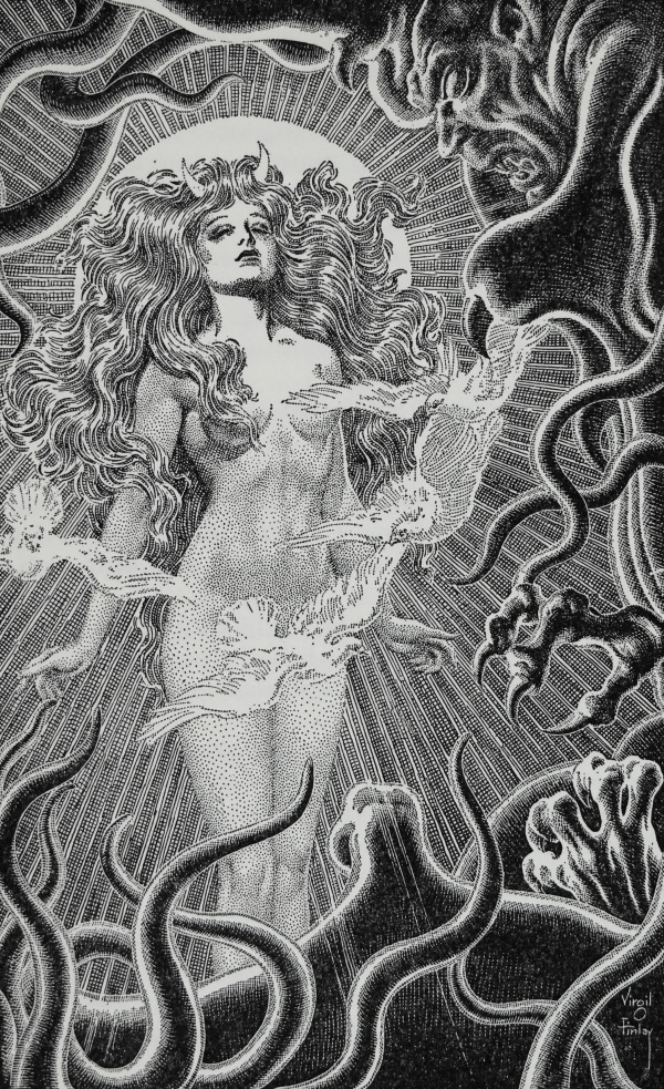 Art by Virgil Finlay for the 1949 Memorial Edition of