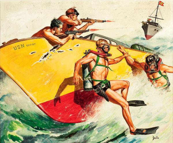 Battle at Sea, men's adventure magazine story illustration