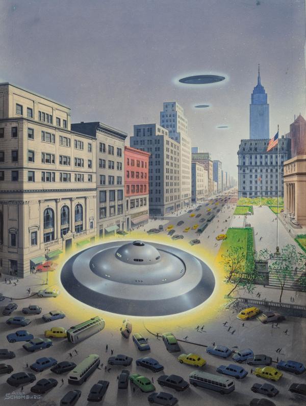 Flying Saucer Landing, Fantastic Universe magazine cover, July 1954