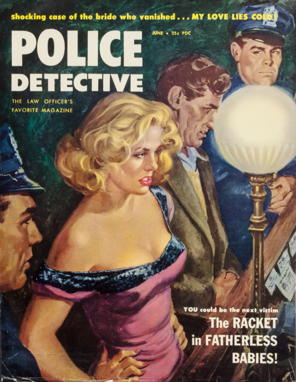 My Love Lies Cold!, Police Detective magazine cover, June 1953