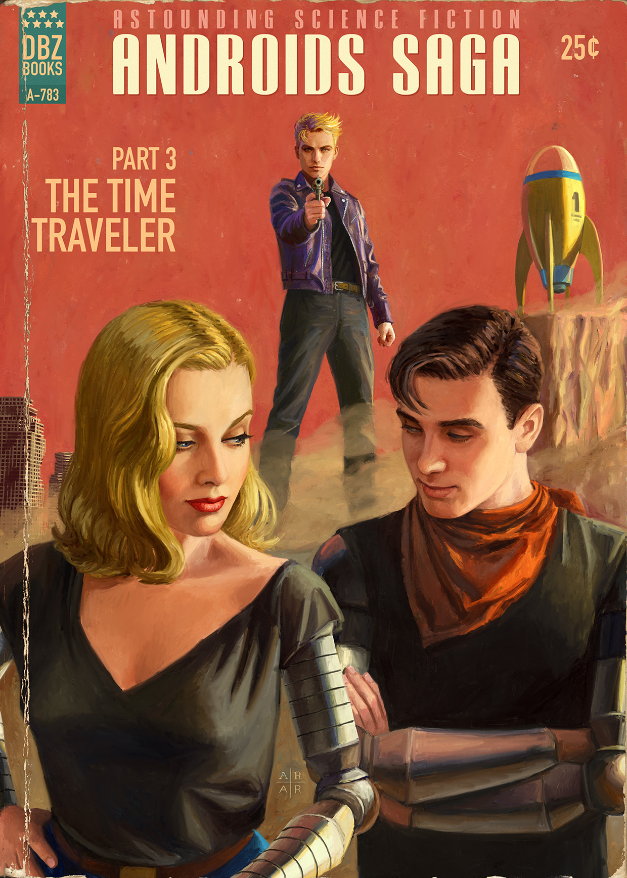 androids saga part 3 the time traveler pulp covers