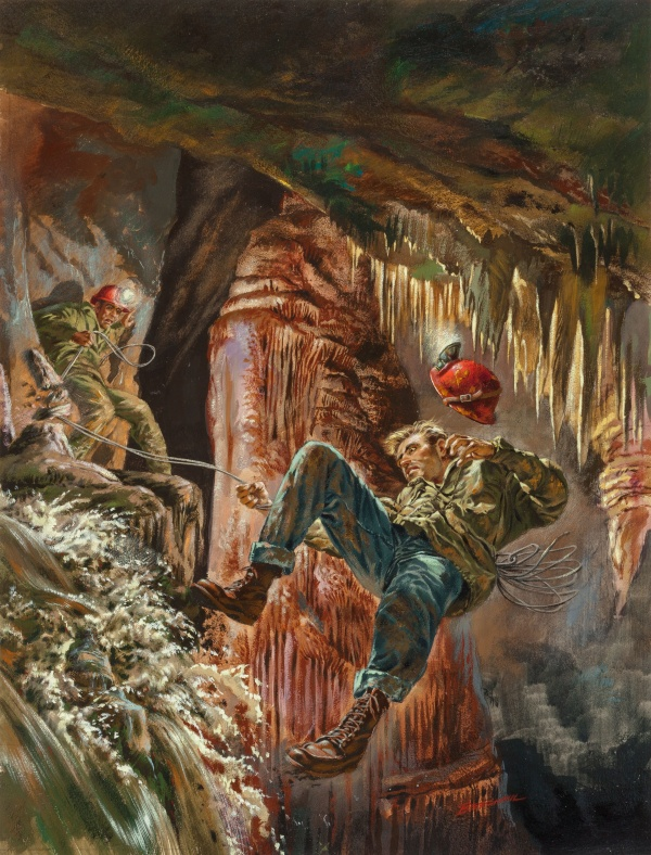 Buried Alive, Outdoor Adventure magazine cover, February 1957