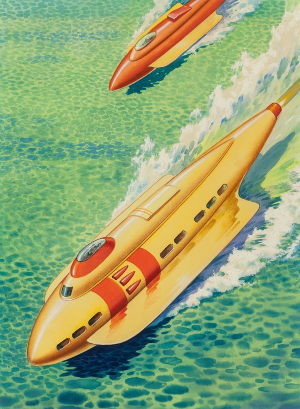 Jet-Boat of Tomorrow, Fantastic Stories back cover, April 1945