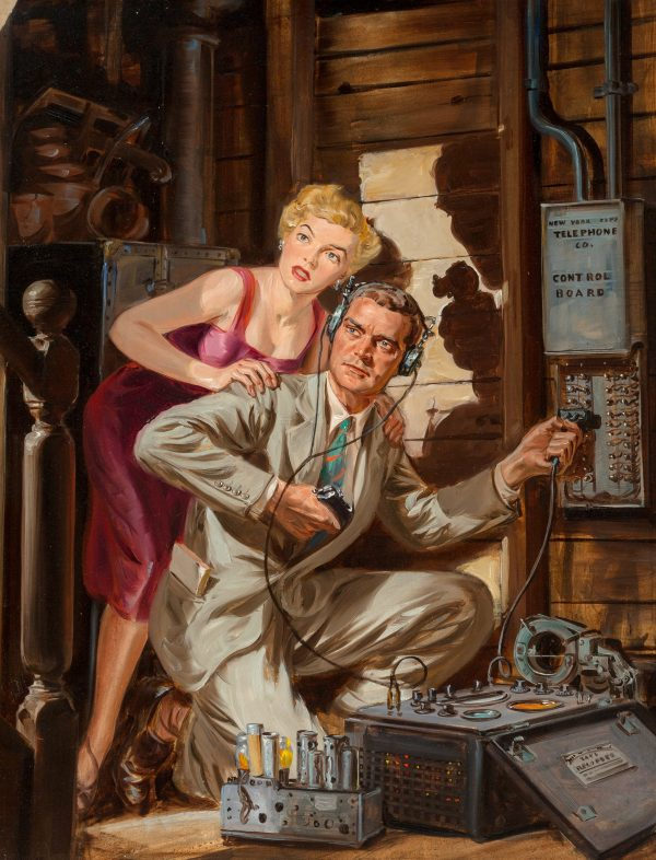 Norman Saunders Fifteen Detective Stories cover, August 1953