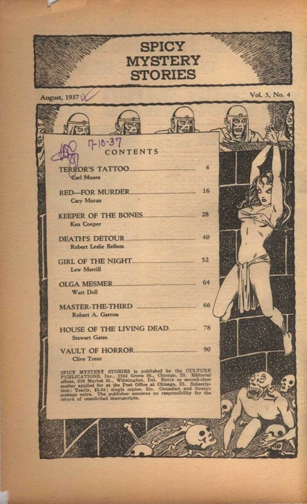 Spicy Mystery Stories - August 1937 Contents