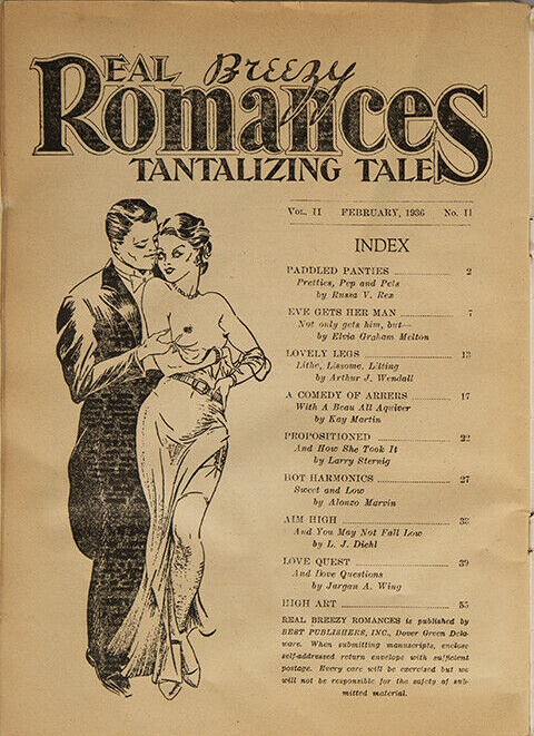 February 1936 Real Breezy Romances Tantalizing Tales Contents